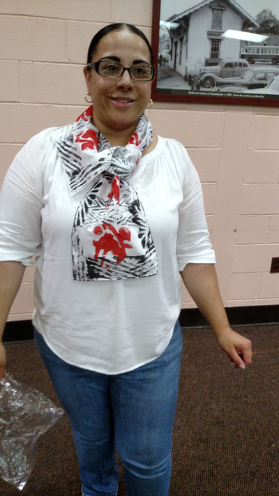 My Time Has Come Wearable Art Workshop participant models her Hand-stamped silk scarf
